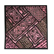 Indian Throw Pillow Cover Kutch Embroidered Pink/Black Tapestry Wall Hanging (18x18inch)