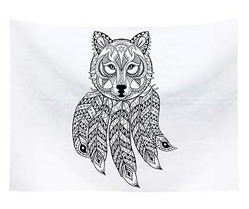Amazon De Schwarz Weiß Tier Traumfänger Wandteppich Indisch