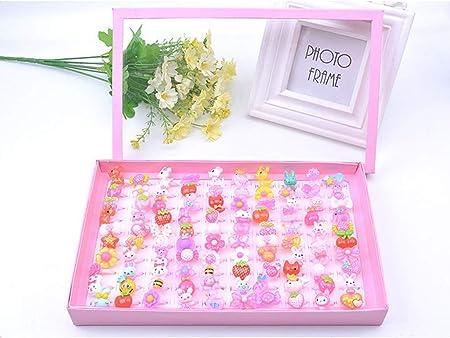 WuLi77 100 piezas de anillos de joyería de juego para niños, colores mezclados, anillos de plástico con caja para suministros de fiesta de cumpleaños y regalo para el día de los niños