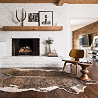 3'10'x5'ft Camel Beige Brown Animal Hide Faux Rawhide Area Rug, Indoor Southwestern Lodge Rustic Bedroom Living Room Flooring Rectangle Carpet, Country Style Cruelty Free Acrylic Synthetic Mat