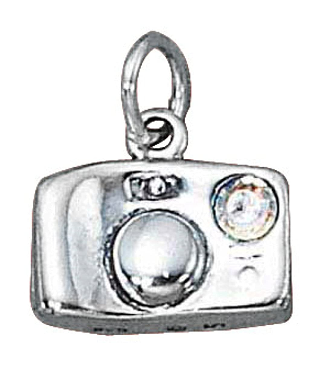 Sterling Silver Mens Unisex 1.5mm Box Chain 3D Camera Pendant Necklace With Crystal Flash