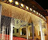 LIIDA Curtain Lights, LED Twinkle Lights 9.8 x 9.8ft Warm White Curtain Icicle Lights With 8 Modes Controller for Holiday, Party, Outdoor Wall, Wedding Decorations