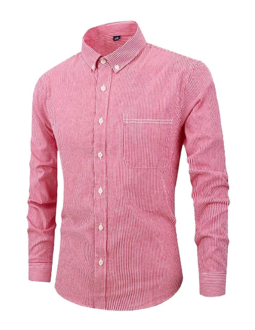 Suncolor8 Mens Business Stripe Cotton Long Sleeve Regular Fit Button Down Dress Shirt