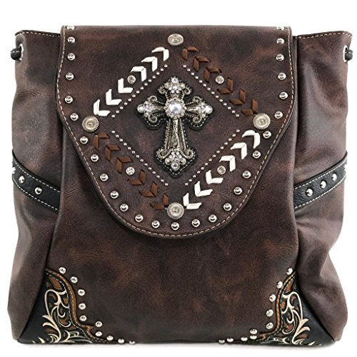 - Justin West Trendy Western Cross Rhinestone Leather Conceal Carry Top Handle Square Backpack Purse (Coffee Backpack)