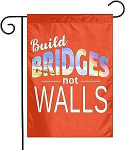 Evisuk USA Garden Flags 12 X 18,Build Bridges Not Walls Welcome/Farmhouse/Outdoor/Decor/Front Porch/Patriotic Yard Flag