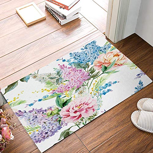 Modern Contemporary Flowers Artwork Abstract Floral Oil Paintings Doormat Entrance Mat Floor Mat Rug Front Door Bathroom Mats Rubber Non ()