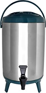Vollum Stainles Steel Insulated Beverage Dispenser – Insulated Thermal Hot and Cold Beverage Dispenser – 12 Liter Drink Dispenser with Spigot for Hot Tea & Coffee, Cold Milk, Water, Juice & More TEAL