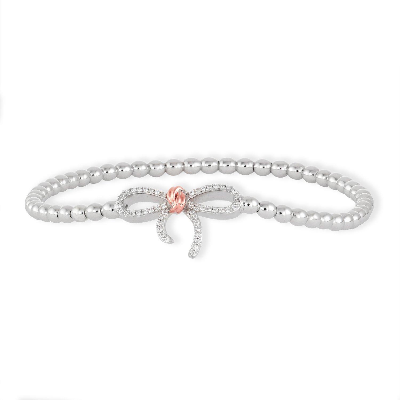 Brilliant Designers 10K Rose Gold & Sterling Silver Diamond 0.15 CTTW (IJ/I2I3) Bow Stretch Bead Bracelet 7''