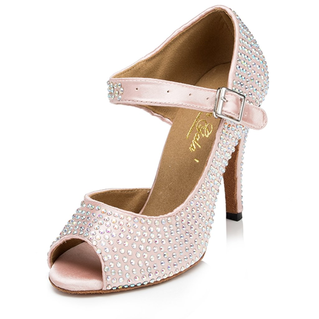 CRC Womens Fashion Ballroom Heel Latin Tango Salsa Satin Beaded Mary Jane Peep Toe Beige Dance Shoes 7 M US