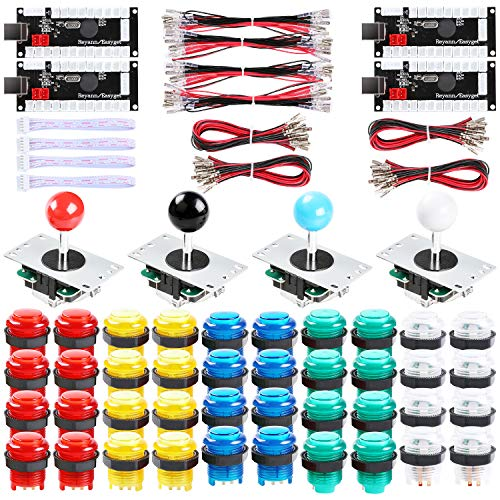 Hikig 4-Player led DIY Arcade kit 40x led Arcade Buttons + 4X joysticks + 4X Zero delay USB encoders with Coin and Player Stickers for PC, MAME, PS3, Raspberry - 4 Kit Player