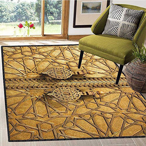 Moroccan Ultra Soft Indoor Area Rugs,Main Golden Gates of Royal Palace in Marrakesh Morocco Travel Tourist Attraction Photo Decor Carpet Popular Colors Gold 59