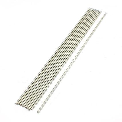 Sourcingmap A13090200UX0731 - Pack de 10 varillas redondas (acero inoxidable, 200 x 2 mm) color plata