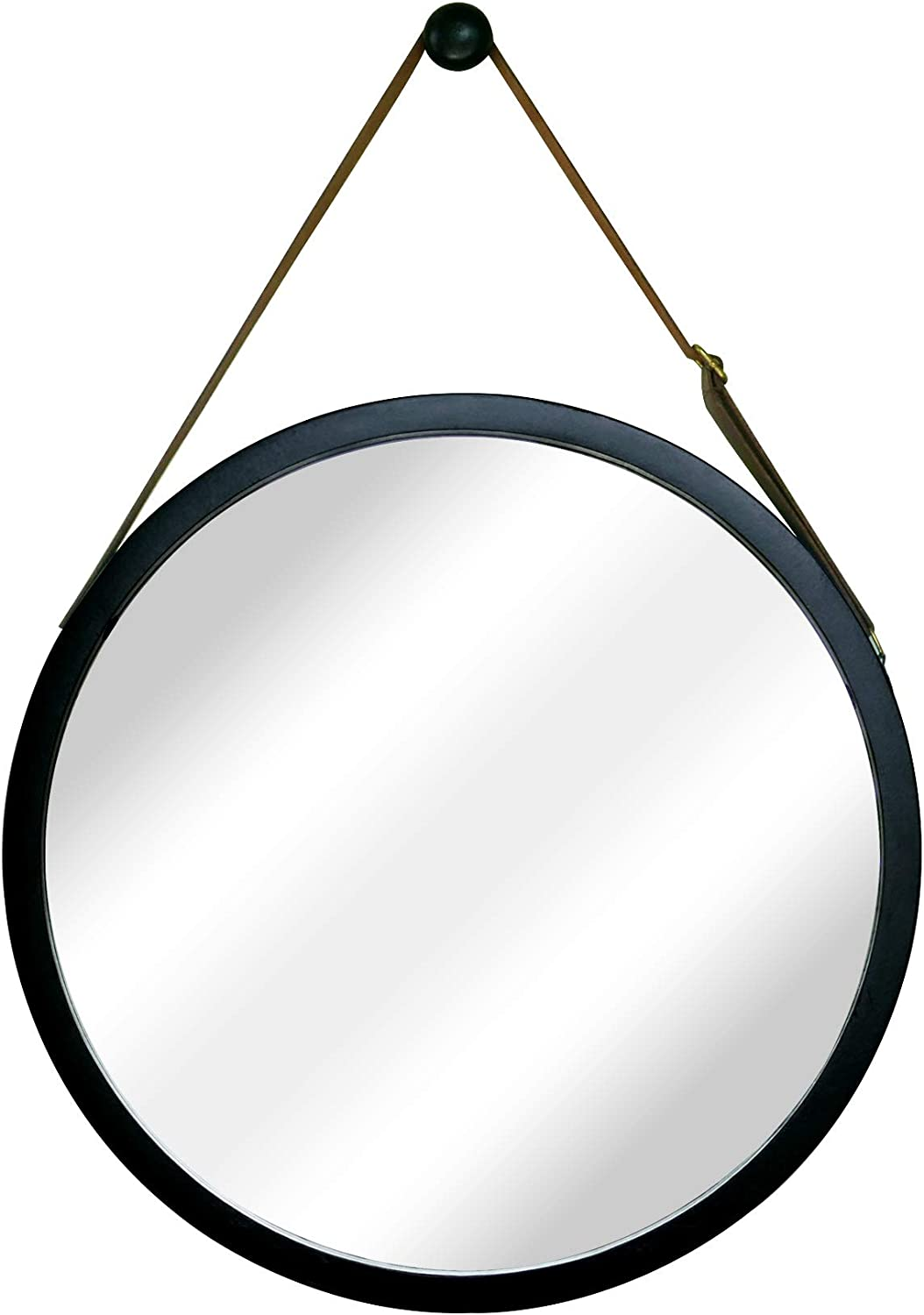 NIKKY HOME Small Round Hanging Wall Mirror with Solid Bamboo Frame Lightweight with Faux Adjustable Leather Strap, Black 15""