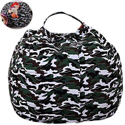 Hometom Extra Large Stuffed Animal Storage Bean Bag Chair | Finest Storage, Hammock & Organizer For Kids' Plush, Jumbo & Cuddly Toys (Army)