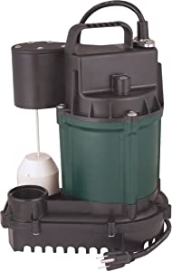 Cast Iron Submersible Sump Pump with Vertical Float Switch - Engineered by Zoeller (3/4 HP)