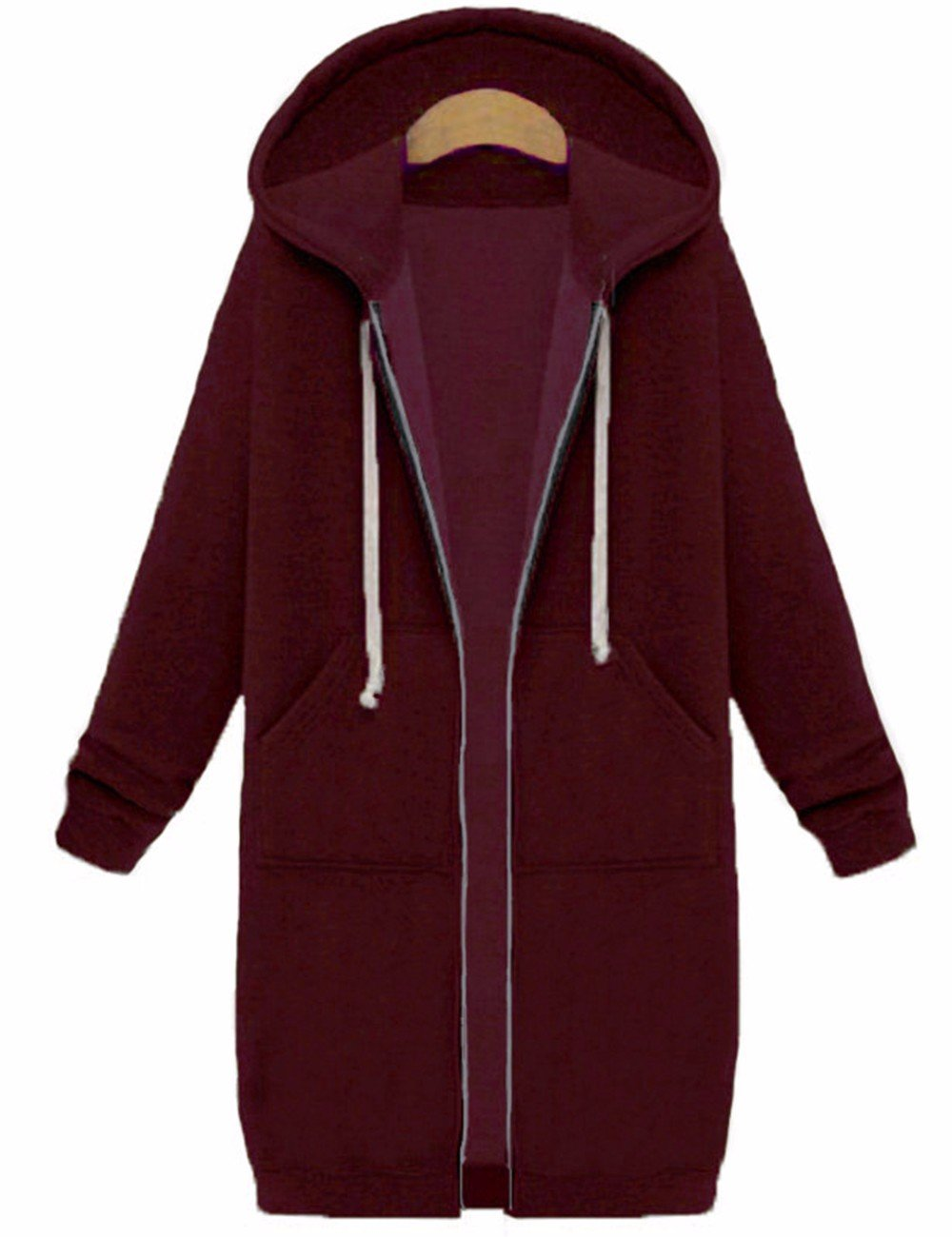 Sexyshine Women's Casual Loose Zip up Long Hoodies Sweatshirt Outerwear Jacket Tunic Coat with Pockets (5XL, Wine Red)