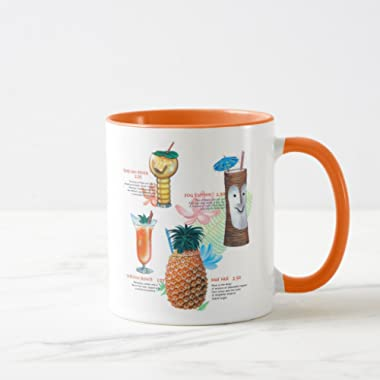 Zazzle Vintage Retro Kitsch Tiki Cocktails Menu Coffee Mug, Orange Combo Mug 11 oz