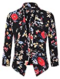 JJ Perfection Women's Floral Texture Woven Ruched Sleeve Open-Front Blazer Black S