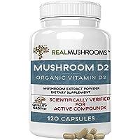 Organic Vegan Mushroom-Based Vitamin D2 Supplement (120 Caps), Vitamin D Vegan Supplement 1000IU, Organic Vegan…