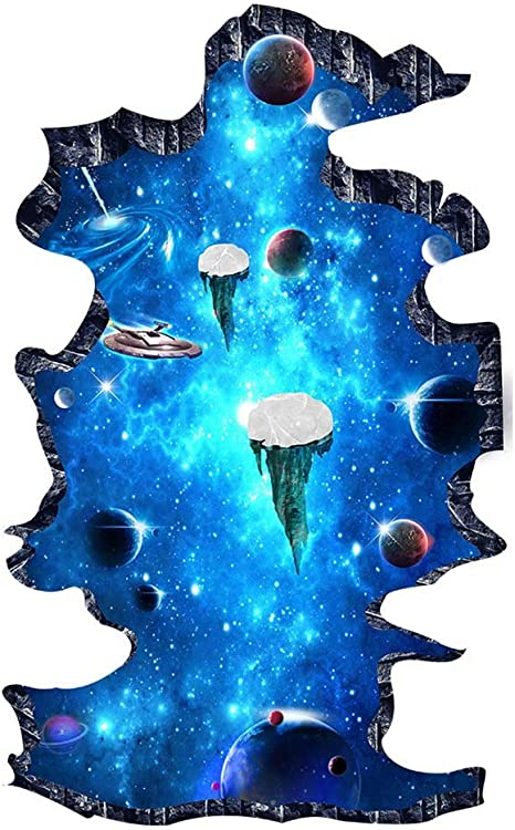 2 Set Blue Cosmic Galaxy Wall Decals Broken Wall View 3d Magic Milky Way Outer Space Planet Stickers Murals Wallpaper Decor For Home Floor Ceiling Living Room Kids Room Tools Home