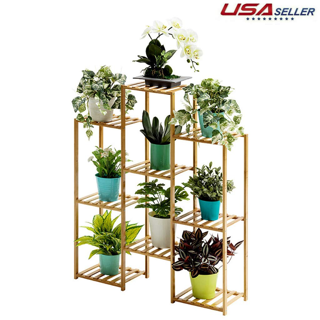 Amazon Com Wesracia Multi Tiered Tall Plant Stand Bamboo Wooden Elevated Plant Rack Indoor Corner Window Plant Shelf Boho Rustic Pot Plant Holder Multipurpose Organizer Shelves Made In Usa A Industrial