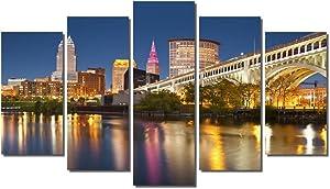 "Picture Sensations® Framed 5-Panel Canvas Art Print, Cleveland City Skyline - 60""x36"""