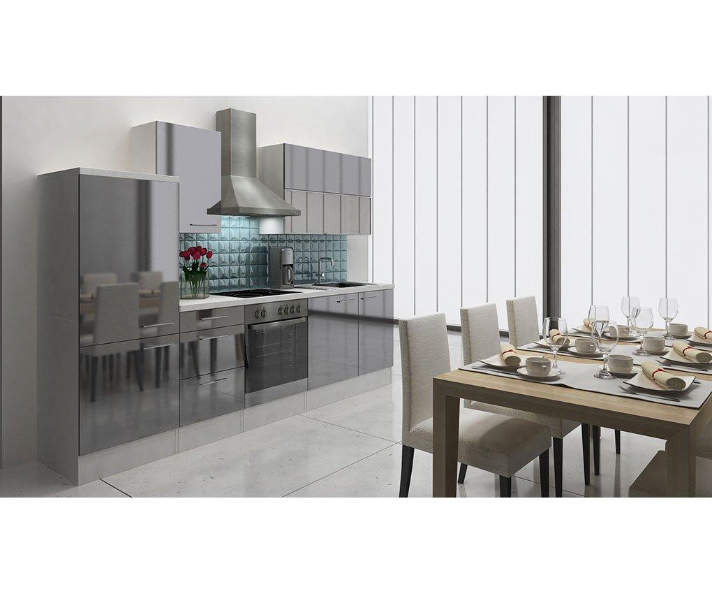 respekta Küchenleerblock 280 cm Weiß Grau Hochglanz APL Weiß