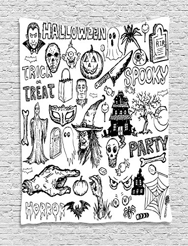 asddcdfdd Vintage Halloween Tapestry, Hand Drawn Halloween Doodle Trick or Treat Knife Party Severed Hand, Wall Hanging for Bedroom Living Room Dorm, 60 W X 80 L Inches, Black White ()