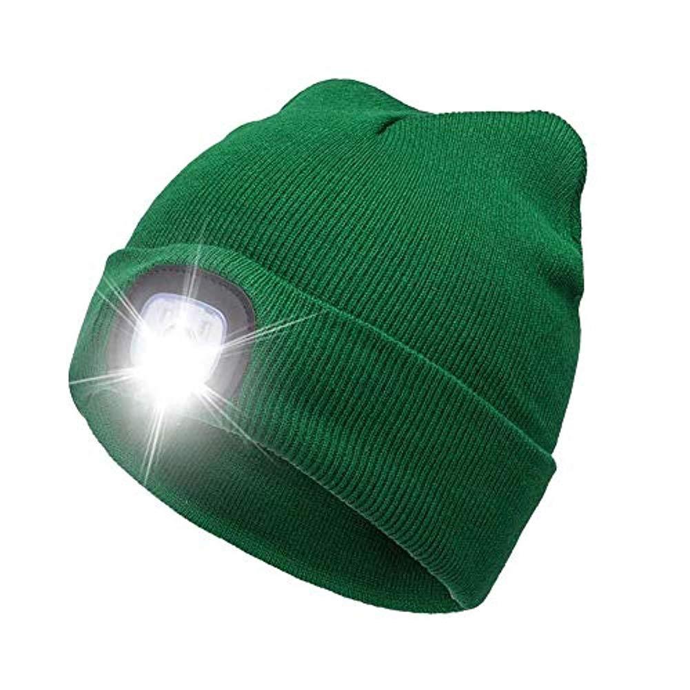 mit Verstellbarer LED und Knopfbatterie GUANLIAN 4LED beleuchtete Beanie-M/ütze Stricken Hip Hop M/änner Frauen Strickm/ütze Wandern Joggen Wandern Camping Handyman Arbeitshut