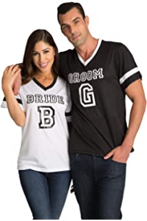 2947f54b9 Zynotti Matching Bride and Groom Couple Football Jersey Shirts Bachelor and  Bachelorette Party and Engagement Photo