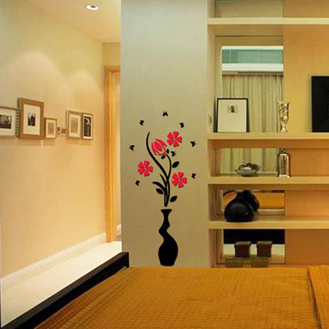 Amazon.com: Ussore DIY Vase Flower Tree Crystal Arcylic 3D Wall ...