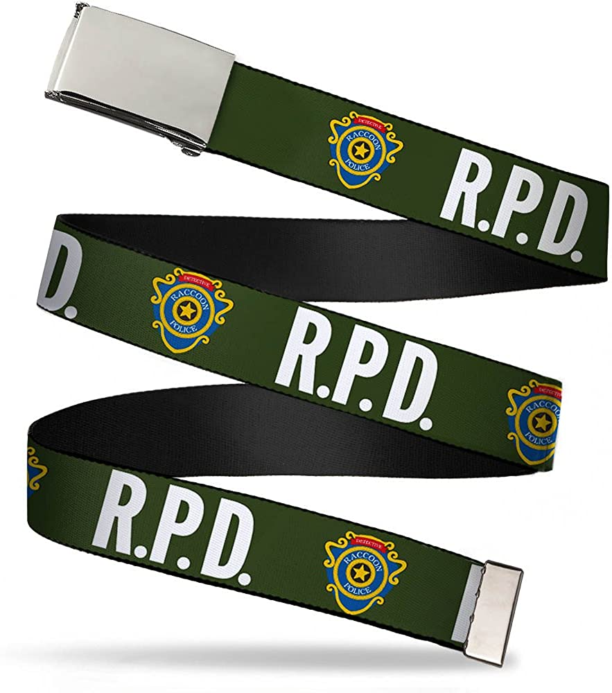 RPD-RACCOON POLICE DETECTIVE Badge Olive//White//Blue//Yellow Buckle-Down Web Belt 1.0 Wide Fits up to Kids Size 20