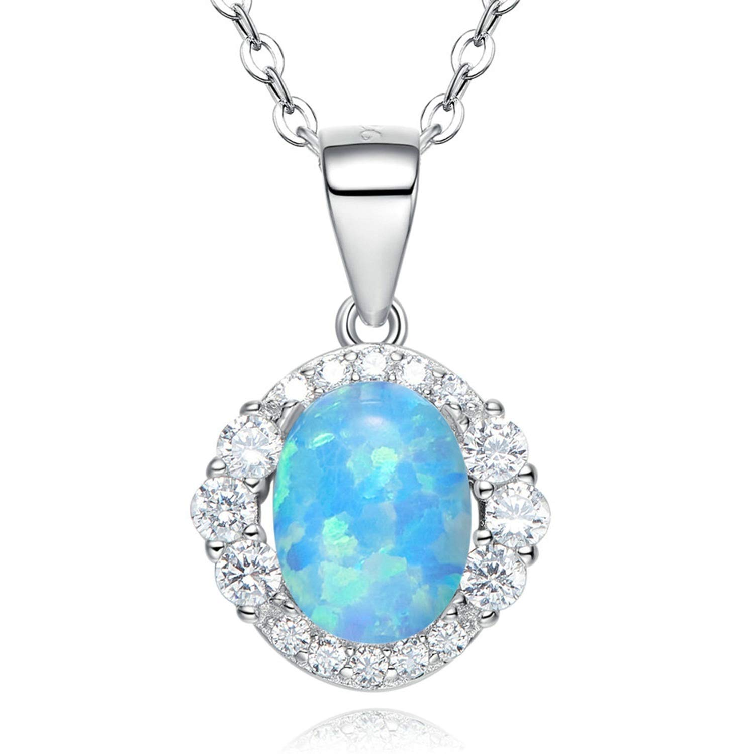 Epinki 925 Sterling Silver Women Necklace Oval Shape Pendant Friendship Chain with Cubic Zirconia