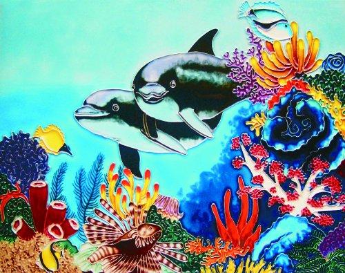 """Dolphins - Decorative Ceramic Art Tile - 11""""x14"""" En Vogue"""