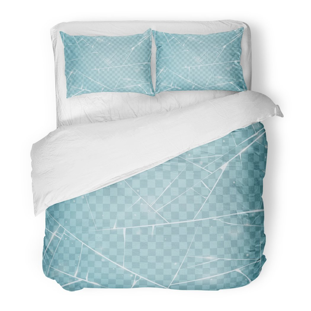 SanChic Duvet Cover Set Blue Frozen Ice Window Abstract Arctic Beautiful Cold Decorative Bedding Set 2 Pillow Shams King Size