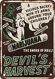 1942 Marijuana Devil's Harvest Vintage Look Reproduction Metal Tin Sign 12X18 Inches