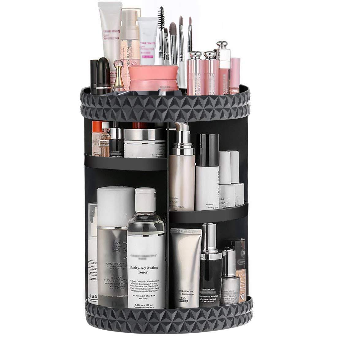 360-degree Rotating Makeup Organizer, DIY Adjustable Makeup Carousel Spinning Holder Storage Rack, Large Capacity Make up Caddy Shelf Cosmetics Organizer Box
