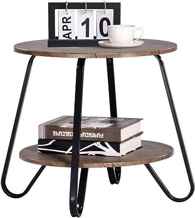 Coavas Tavolini Da Caffe Vintage Da Soggiorno 2 Tiers Tavoli Con Piedistallo Tavolini Da Comodino Per La Camera Da Letto Tavolini Rotondo Da Salotto In Legno Marrone Metallo Amazon It Casa E Cucina