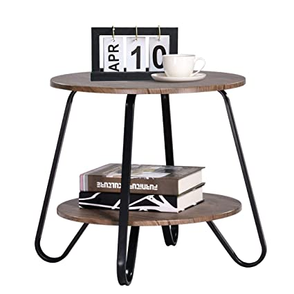 Small Coffee-Table Vintage 2 Tiers Living-Room End Table Modern Industrial  End-Table Nightstands for Bedroom Round Sofa Side Table Wood Metal Brown ...