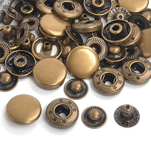 Pack 15 Completed Sets Antique Brass Metal Snap Fasteners Press Studs Poppers Clothing Bag Jacket Leather Craft Buttons (10mm) (Antique Brass Snaps)