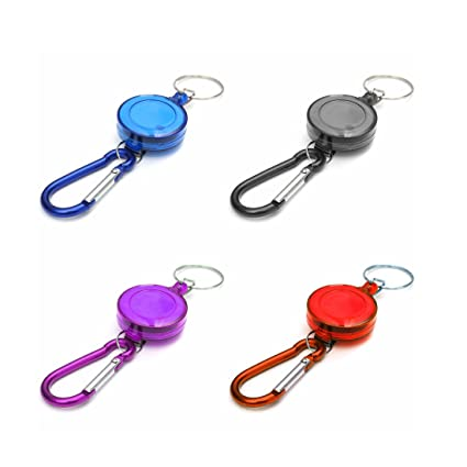 Carabiner Recoil Keychain Retractable Reel Strap Belt Clip Keyring Outdoor Tools