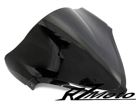 RZMoto ABS Plastic Injection Black Smoke Double Bubble Windscreen Windshield With 5mm Black Wellnut Bolt Kit for 2016 2017 2018 2019 Kawasaki Ninja ZX10R ZX1000