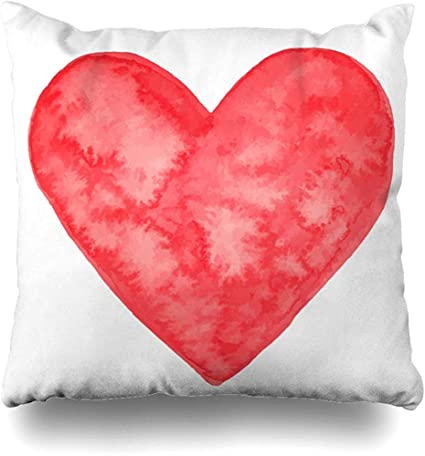Darlene Ackerman N Throw Pillow Cover Pillowcase Red Amour Watercolor Heart Abstract Shape Aquarelle Artistic Border Design Zippered Cushion Case Amazon Co Uk Kitchen Home