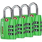 Forge TSA Locks 4 Pack Green - Open Alert Indicator, Easy Read Dials, Alloy Body