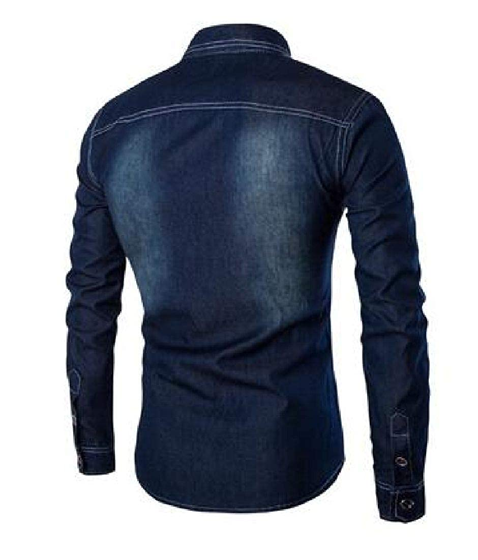CRYYU Men Slim Fit Long Sleeve Pockets Big /& Tall Button Down Denim Shirt