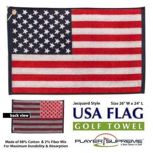 (USA American Flag Stars and Stripes Jacquard Golf Towel 16