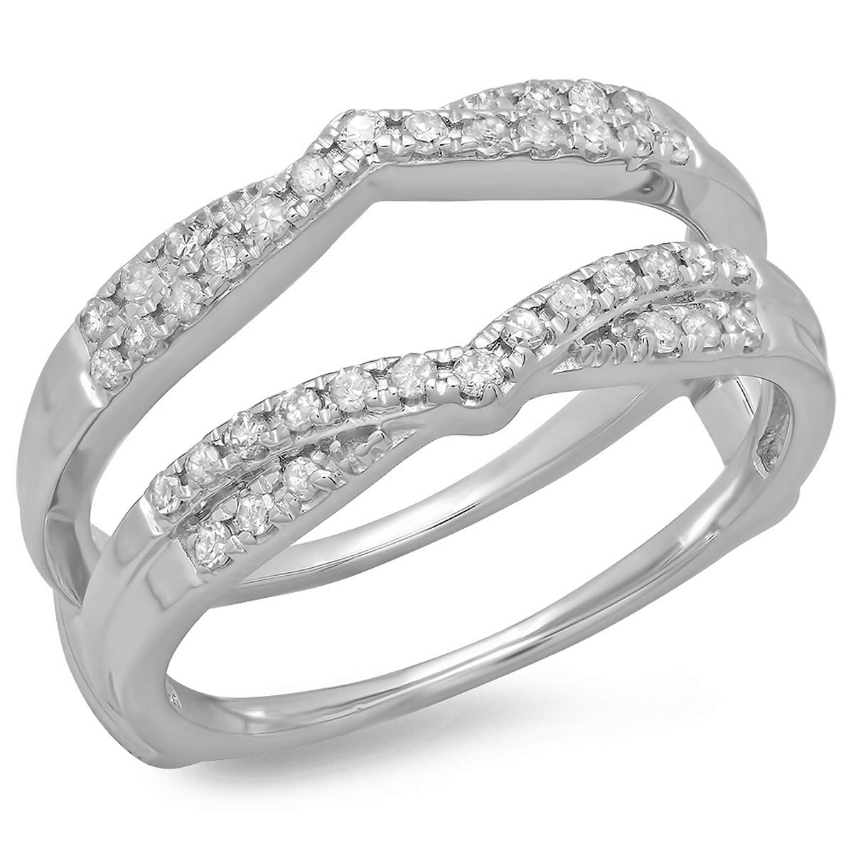 Dazzlingrock Collection 0.33 Carat (ctw) 14K Round Diamond Wedding Band Guard Double Chevron Ring 1/3 CT, White Gold, Size 7