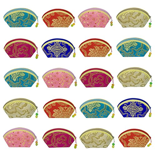 20PCS Brocade Jewelry Pouch Bag Drawstring Coin Purse Gift Bag Value Set Mix Colors