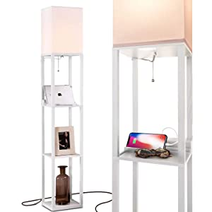 Brightech Maxwell Charging Edition - LED Shelf Floor Lamp for Living Rooms & Bedrooms - Includes USB Ports & Electric Outlet - Modern Standing Light - Asian Display Shelves - White