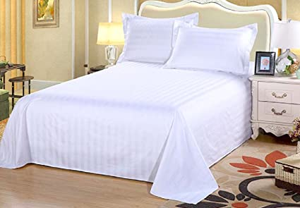 AVI High Quality 300 TC Sateen Stripes Cotton Extra Large Bed Sheet, White  (108